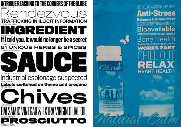 Titling Gothic specimen and Natural Calm ad