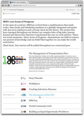 IBM 100 Icons of Progress: Index Page