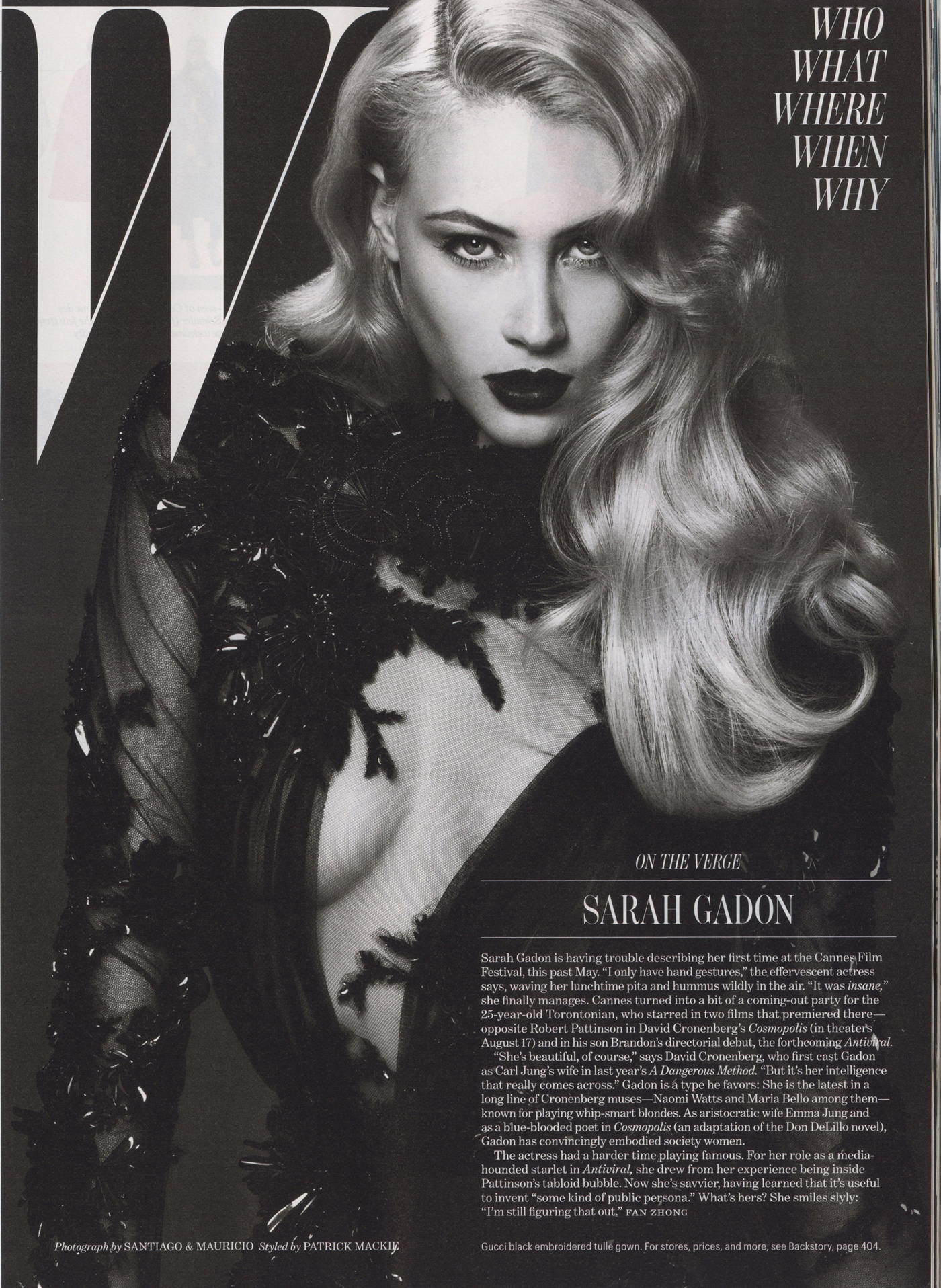 W Magazine, Sept. 2012 - Who section opener