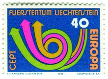 Liechtenstein postage stamp: Europa horn