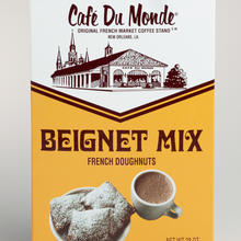 Café Du Monde beignet mix and coffee packaging