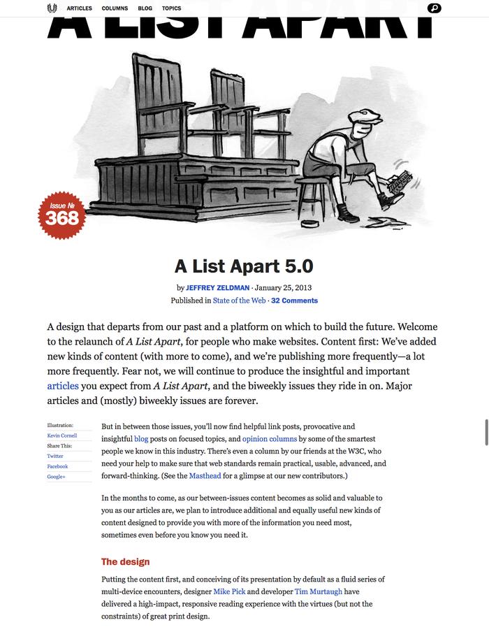 A List Apart 5.0 · An A List Apart Article.pn