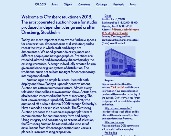 ⬢Örnsbergsauktionen 2013  February 4–8  12.00