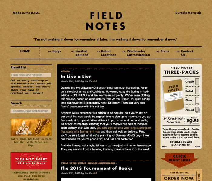 "Field Notes — ""I'm not writing it down to rem"