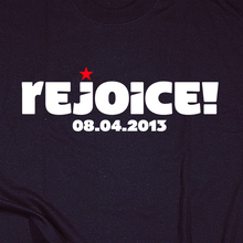 <cite>Rejoice!</cite> T-shirt by Philosophy Football