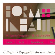Tage der Typografie – <cite>form+inhalt</cite>, Lage-Hörste (D), 28–30 June 2013