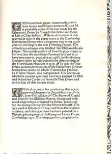 Specimen Pamphlet of Kelmscott Press Paper