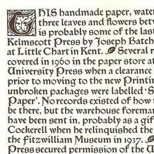 Specimen Pamphlet of Kelmscott Press Paper