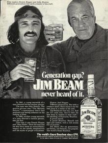 """Jim Beam ad: """"Generation gap? Jim Beam never heard of it."""" (1972)"""
