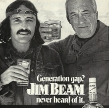"Jim Beam ad: ""Generation gap? Jim Beam never heard of it."" (1972)"