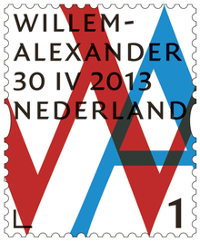 Inauguration Stamps for Willem-Alexander, King of the Netherlands