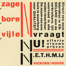 <cite>Zagen, boren, vijlen</cite> – ad for Vickers House