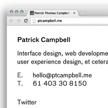 Patrick Campbell Personal Site