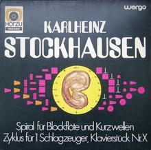 <cite>Spiral für Blockflöte und Kurzwellen / Zyklus für 1 Schlagzeuger / Klavierstück Nr. X</cite> by Karlheinz Stockhausen