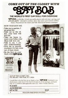 "Gay Bob Doll Ad: ""Come out of the closet with Gay Bob"" (1978)"