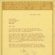 Rolling Stones 1969 letterhead