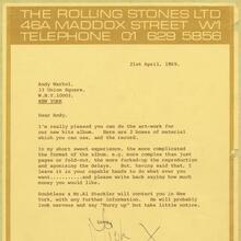 Rolling Stones 1969 letterhead