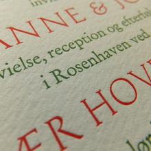 Marianne & Johan wedding invitation