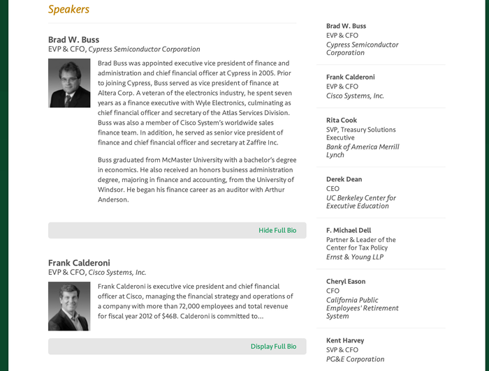 Evanta : CFO : Summits : San Francisco : Spea