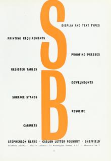 Stephenson Blake / Caslon Letter Foundry Ad, 1960