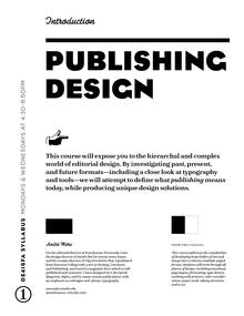 Publishing Design syllabus