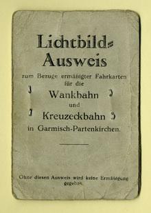 Lichtbild-Ausweis für die Wankbahn und die Kreuzeckbahn in Garmisch-Partenkirchen