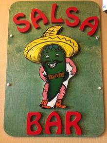 Salsa Bar Sign at Taqueria Guadalajara