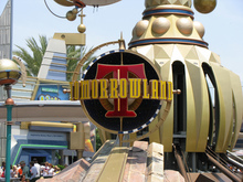 Tomorrowland Signage at Disneyland Park and Magic Kingdom