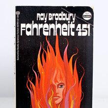 <cite>Fahrenheit 451</cite> book cover, 1972 Ballantine Books edition