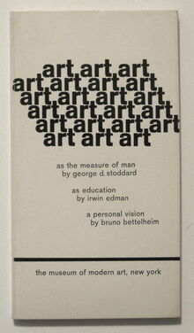 <cite>art: as the measure of man / as education / a personal vision</cite>