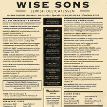 Wise Sons Jewish Delicatessen menu