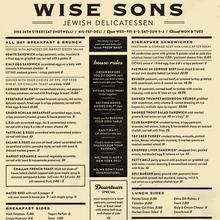 Wise Sons Jewish Delicatessen menu