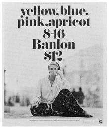 "Banlon ad: ""yellow, blue, pink, apricot…"""