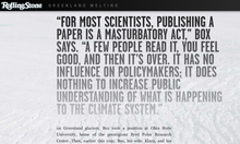<cite>Greenland Melting</cite> Rolling Stone feature website