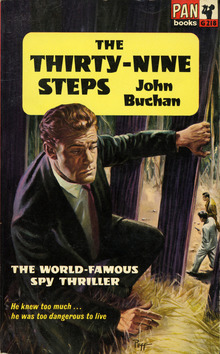 <cite>The Thirty-Nine Steps</cite> book cover, Pan Books edition