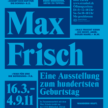 Max Frisch. Eine Ausstellung zum hundertsten Geburtstag