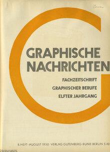 <cite>Graphische Nachricten</cite>, Vol. 11, No. 8, Aug. 1932