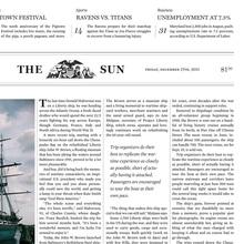 Hypothetical <cite>Baltimore Sun</cite> redesign