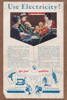 """""""Use Electricity!"""" advert for the Dublin Corporation Electricity Department"""
