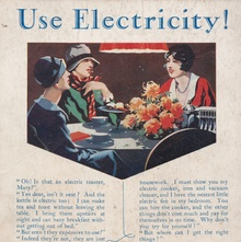 """Use Electricity!"" advert for the Dublin Corporation Electricity Department"