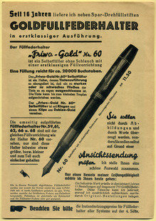 "Ad for Fritz Wortmann's ""Friwo-Gold"" fountain pens"
