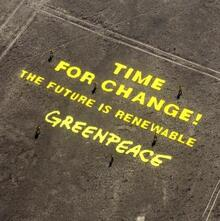 """Time for Change! The Future is Renewable"" Greenpeace message in Nazca, Peru"