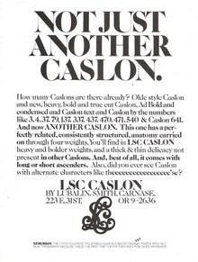 LSC Caslon typeface ad