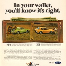 "Ford Pinto ad: ""In your wallet, you'll know it's right"""