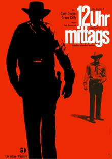 <cite>12 Uhr mittags</cite> (High Noon) movie poster, German rerelease and Atlas Film logo