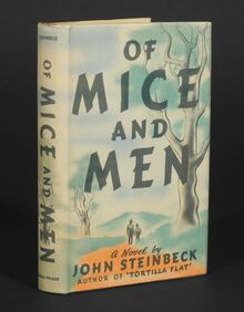 <cite>Of Mice And Men</cite> by John Steinbeck, first edition