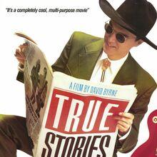 <cite>True Stories</cite> movie poster, titles, album art