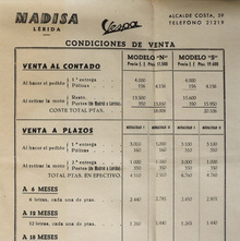 Madisa Lérida Vespa conditions of sale
