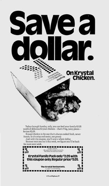 Krystal restaurants ads, 1973