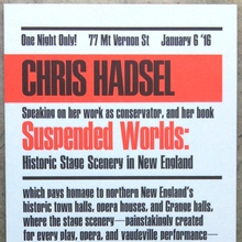 "Chris Hadsel – ""Suspended Words"" flyer"